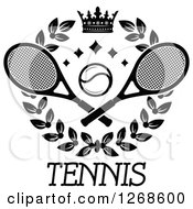 Clipart Of A Black And White Crown And Laurel Wreath With A Tennis Ball And Rackets Over Text Royalty Free Vector Illustration