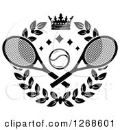 Clipart Of A Black And White Crown And Laurel Wreath With A Tennis Ball And Crossed Rackets Royalty Free Vector Illustration