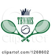 Clipart Of A Crown Over Text A Tennis Ball And Crossed Rackets Royalty Free Vector Illustration