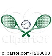 Clipart Of A Tennis Ball And Crossed Green Rackets Royalty Free Vector Illustration