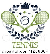 Clipart Of A Crown And Laurel Wreath With A Tennis Ball And Crossed Rackets Over Text Royalty Free Vector Illustration