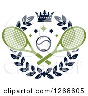 Clipart Of A Crown And Laurel Wreath With A Tennis Ball And Crossed Rackets Royalty Free Vector Illustration