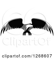 Clipart Of A Black And White Bald Eagle In Flight 2 Royalty Free Vector Illustration