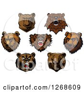 Clipart Of Brown Bear Heads Royalty Free Vector Illustration