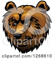 Clipart Of A Brown Fierce Bear Head Royalty Free Vector Illustration