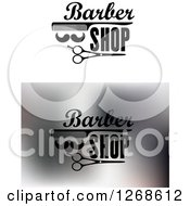 Clipart Of Barber Shop Mustach Scissors And Comb Designs Royalty Free Vector Illustration
