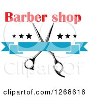 Clipart Of A Red Barber Shop Text Over Scissors Stars And A Blank Blue Banner Royalty Free Vector Illustration by Vector Tradition SM
