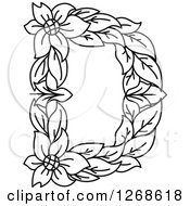 Clipart Of A Black And White Floral Capital Letter D With A Flower Royalty Free Vector Illustration