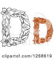 Clipart Of Floral Capital Letter D Designs With A Flowers Royalty Free Vector Illustration