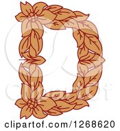 Clipart Of A Floral Capital Letter D With A Flower Royalty Free Vector Illustration