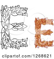 Clipart Of Floral Capital Letter E Designs With A Flower Royalty Free Vector Illustration
