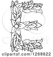 Clipart Of A Black And White Floral Capital Letter E With A Flower Royalty Free Vector Illustration