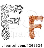 Clipart Of Floral Capital Letter F Designs With A Flowers Royalty Free Vector Illustration