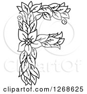 Clipart Of A Black And White Floral Capital Letter F With A Flower Royalty Free Vector Illustration