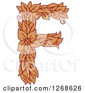 Clipart Of A Floral Capital Letter F With A Flower Royalty Free Vector Illustration