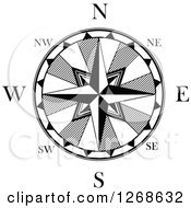 Clipart Of A Black And White Nautical Compass Royalty Free Vector Illustration