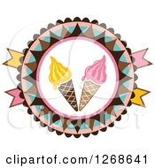 Clipart Of Round Colorful Ice Cream Cone Badge Royalty Free Vector Illustration by Vector Tradition SM