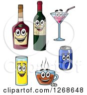 Clipart Of Cartoon Beverage Characters Royalty Free Vector Illustration by Vector Tradition SM