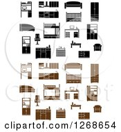 Clipart Of Black And White And Brown Furniture Royalty Free Vector Illustration