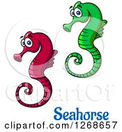 Clipart Of Cartoon Seahorses Royalty Free Vector Illustration by Vector Tradition SM