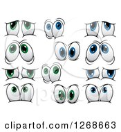 Clipart Of Pairs Of Expressional Green And Blue Eyes 2 Royalty Free Vector Illustration