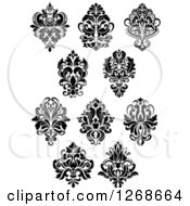 Clipart Of Black And White Arabesque Damask Designs 4 Royalty Free Vector Illustration