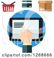Clipart Of A Hand Using A Tablet Under A Shopping Basket Credit Card And Box Royalty Free Vector Illustration