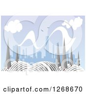 Clipart Of A Hilly Winter Landscape With Trees And City In The Distance Royalty Free Vector Illustration by Seamartini Graphics