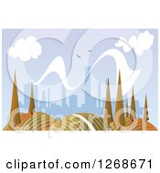 Clipart Of A Hilly Autumn Landscape With Trees And City In The Distance Royalty Free Vector Illustration