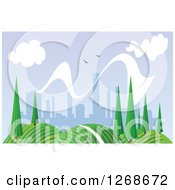Clipart Of A Hilly Spring Landscape With Trees And City In The Distance Royalty Free Vector Illustration by Vector Tradition SM
