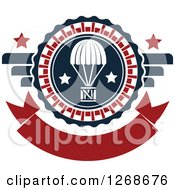 Clipart Of A Red White And Blue Airdrop Crate And Parachute And Stars Design Royalty Free Vector Illustration by Seamartini Graphics