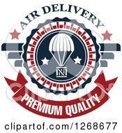 Clipart Of A Red White And Blue Airdrop Crate And Parachute Air Delivery Premium Quality Design Royalty Free Vector Illustration