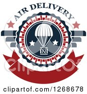 Clipart Of A Red White And Blue Airdrop Crate And Parachute Air Delivery Design Royalty Free Vector Illustration by Seamartini Graphics