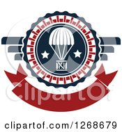 Clipart Of A Red White And Blue Airdrop Crate And Parachute Design Royalty Free Vector Illustration