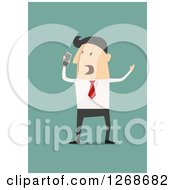 Clipart Of A Mad Business Man Shouting Into A Cell Phone Royalty Free Vector Illustration