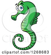 Clipart Of A Cartoon Green Seahorse Royalty Free Vector Illustration by Seamartini Graphics