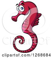 Clipart Of A Cartoon Red Seahorse Royalty Free Vector Illustration by Seamartini Graphics