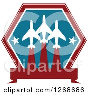Clipart Of A Red White And Blue Airplane And Stars Design Royalty Free Vector Illustration by Seamartini Graphics