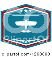 Clipart Of A Red White And Blue Shield Airplane Design Royalty Free Vector Illustration by Seamartini Graphics