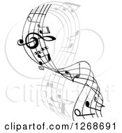 Clipart Of A Grayscale Flowing Music Note Wave Design Royalty Free Vector Illustration