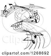 Clipart Of A Grayscale Flowing Music Note Wave Design 2 Royalty Free Vector Illustration