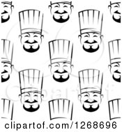 Clipart Of A Seamless Background Pattern Of Black And White Asian Chef Faces Royalty Free Vector Illustration
