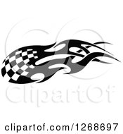 Black And White Flaming Checkered Tribal Racing Flag