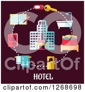 Clipart Of A Hotel In A Circle Of Travel Items On Maroon Royalty Free Vector Illustration