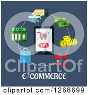 Clipart Of A Cell Phone With A Buy Graphic In A Circle Of E Commerce Items Over Text On Blue Royalty Free Vector Illustration