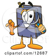 Clipart Picture Of A Suitcase Cartoon Character Looking Through A Magnifying Glass