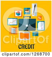 Clipart Of Business And Finance Icons Over Credit Text On Yellow Royalty Free Vector Illustration by Seamartini Graphics