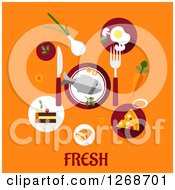 Clipart Of Food Over Fresh Text On Orange Royalty Free Vector Illustration by Seamartini Graphics