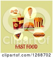 Clipart Of Fast Food Over Text On Green Royalty Free Vector Illustration by Seamartini Graphics