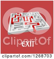 Clipart Of A 3d White Maze With A Red Arrow Leading To The Exit With Text Royalty Free Vector Illustration